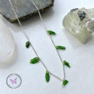Diopside Chip Silver Chain Healing Necklace